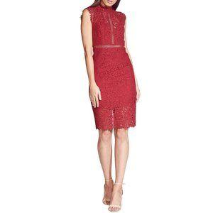 Bardot mock neck lace panel midi dress